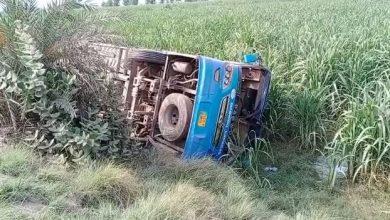 سردار گڑھ کے قریب مسافر بس کو حادثہ